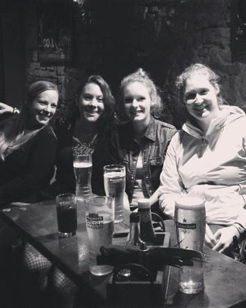 The girls out for dinner at an Irish pub